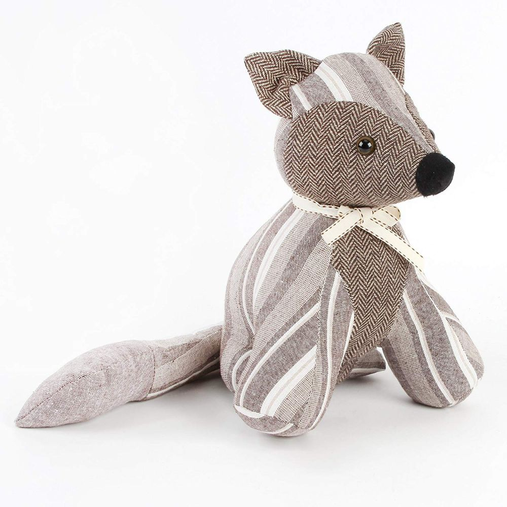 Vintage Grey | Brown Stripe Fabric Fox Doorstop
